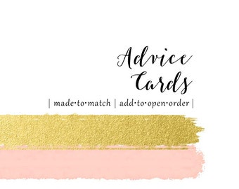 Made to Match Advice Cards - Set of 10 - add this listing to your invitation order