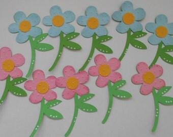 Pink and Blue Flower Die Cuts