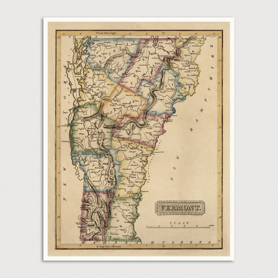 Old Vermont Map Art Print 1817 Antique Map Archival Reproduction