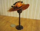 12th Scale Dollhouse Miniature Ladies Hat in Black and Tan Silk