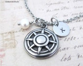Compass Non tarnish Stainless Steel Charm Necklace, Personalized Hand Stamped Initial Birthstone Compass Charm Necklace