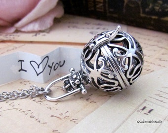 Wish Box Necklace, Antique Silver Orb, Prayer Box, Angel Caller, Harmony Ball, Message Locket Necklace