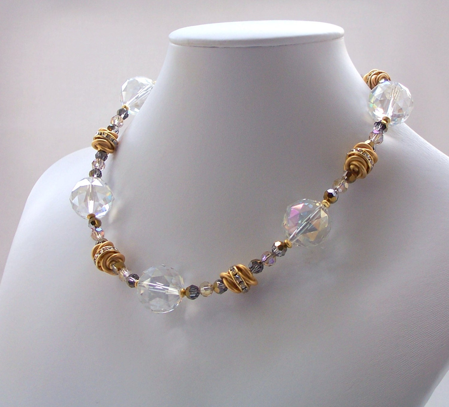 swarovski beaded necklace gold jewelry by