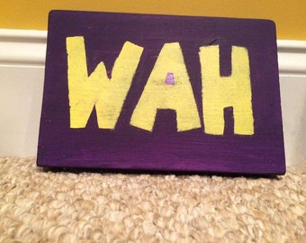 "Waluigi ""Wah"" Wooden Sign"