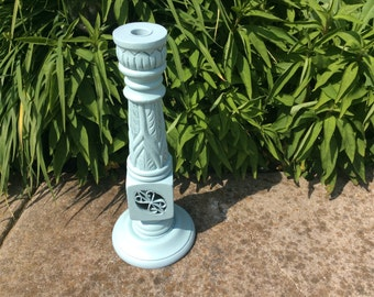 Duck egg blue shabby chic wood candlestick