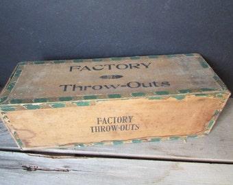 Wood Cigar Box Vintage Factory Seconds Cigar Box Large Wood Box