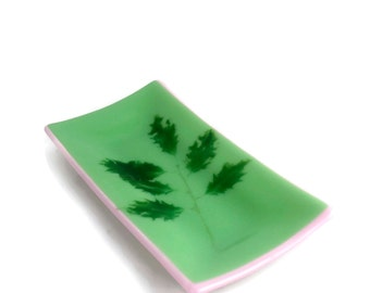Holly Fossil Vitra Fused Glass Tray in Mint Green & Petal Pink FB240