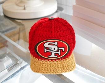 Newborn Baby Boy Hat, Baby Boy Hats, Crochet San Francisco 49ers baseball football cap, newborn hat, sport hat,  team hat, cap, baby gift