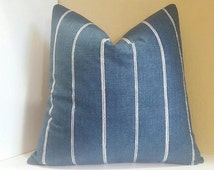Denim Blue Pillow Cover with Vertical Ivory Stripes - All Sizes available- Select your size during checkout