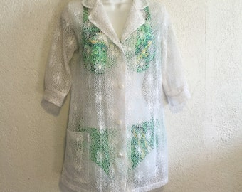 Sheer White Lace Vintage Bathing Suit Cover-Up
