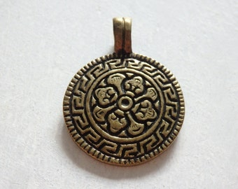 Nepalese brass pendant - ONE, brass pendant from Nepal, Buddhist brass pendant with fixed bail, ethnic brass pendant, 24x35mm Nepali pendant