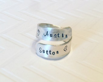 Hand Stamped Personalized Sterling Silver Wrap Ring