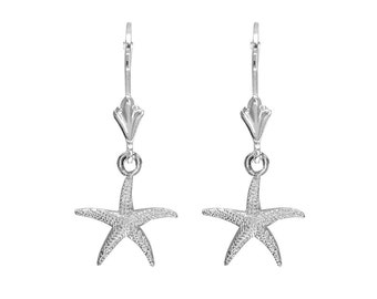 Mini Common Starfish Earrings in Sterling Silver
