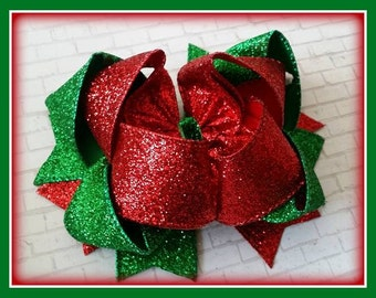Red and Green Hair Bow..Red and Green Bow...Green and Red bow...Red and Green Glitter bow...Glitter Hair Bow...Christmas Hair Bow