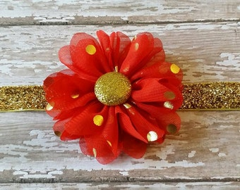 Red Flower Headband...Red and Gold Headband...Gold Dot Flower Headband...Gold Dot Flower...Summer Headband.