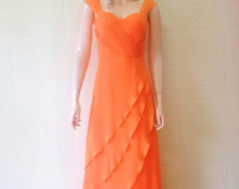 Orange Bridesmaid Dress. Orange Prom Dress. Maxi Dress.