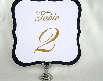 Table Number Cards Navy or Gold Metallic and White Linen Wedding Reception Card Food Label Card Any Color, Modern Square Die Cut Table Cards
