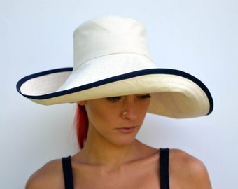 Cream sun hat, foldable hat, travel hat, wide brimmed summer hat, cream calico sunhat, cotton hat, summer fashion, beach wear