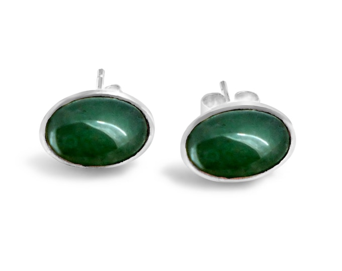 8x6mm Aventurine and Sterling Silver Stud Earrings
