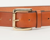 Tan Bridle Leather Belt with 1.5 inch Roller Buckle