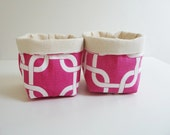Small Canvas Storage Baskets - Candy Pink and White Chainlink with Canvas Liner - Set of 2 - Home Decor - Gift Basket