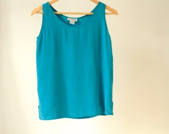 SILK tank top SHEER teal blue crop top blouse