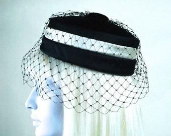 Black Velvet Pillbox Hat with Veil and Ivory Satin Band Vintage