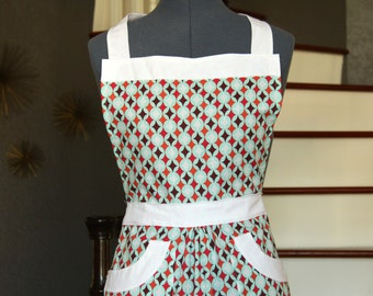Cute Aprons for Women, Womens Aprons, Blue White Red Orange Brown Geometric Print,  Apron with Pocket