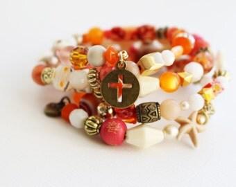 Boho Christian/Catholic Stacked Bracelet--Inspirational--Cuff--Hippie--Gypsy--Repurposed--Multi-Strand--Vintage--Orange--Cross--Coral--Hope