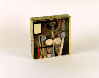 Pablo Picasso - Femme dans un fauteuil (Woman in an armchair), 1946  -  Original Art with Mixed Construction Technique.