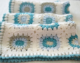 Crocheted Blanket, Cotton Blanket, White, Blue, Grey Blanket, Shower Gift, Photo Prop