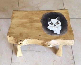 Wooden Stool- waxed- with Cat