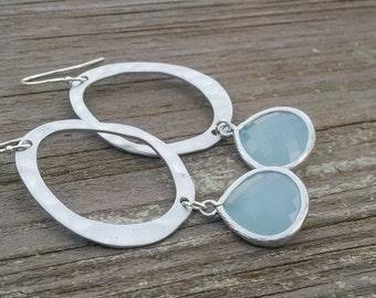 Light Blue Earrings in Silver - Pale Baby Blue and Silver Oval Earrings - Alice Blue Modern Earrings - Matte Silver Bridesmaid Jewelry