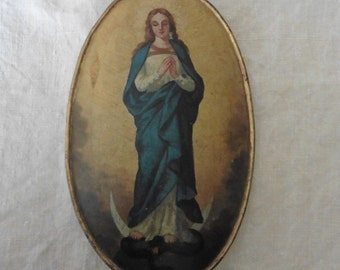 France, Art and Collectables , Antique, Oil Painting, Tole Peint,Virgin Mary ,Tole Peint, Processional Banner. French vintage, French Church