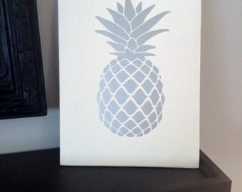Silver Pineapple Wall Art, Pineapple Sign, Pineapple Decor, Silver Pineapple Picture,  kitchen decor, tropical decor, Pineapple wall decor