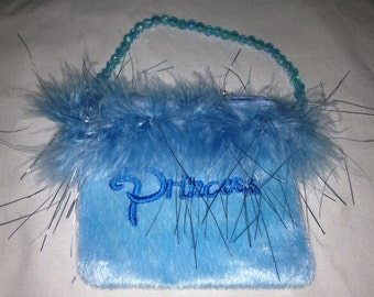 baby blue princess fuzzy furry pouch