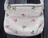 VTG- Lovely, 1960s, White and Pink Beaded, Vintage Shoulder bag by Lumured, Beaded Floral Purse, Embroidered, 60s Handbag, Made in USA