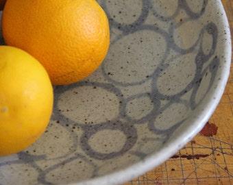 Web of Cirlces Serving Bowl - For Salad, Fruit Bowl - Modern Pottery - Presentation Bowl
