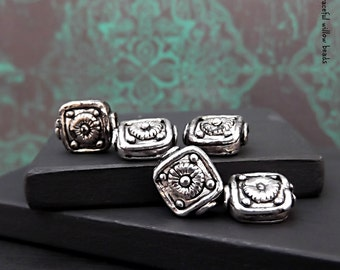 Antique Silver Finish Floral Pewter Square Metal Bead - Boho Gypsy Hippie Floral Metal Bead - Pkg. 5