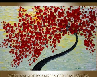 SALE Original Abstract Handpainted Acrylic  Impasto textured  Red  Tree Painting size 36 x24.