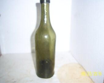 1860's Plain 9 inch olive green food olive oil wine  bottle