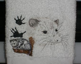 Opossum Plush hand towel