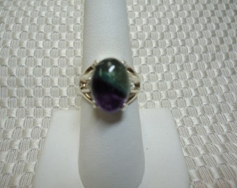 Oval Cabochon Fluorite Ring in Sterling Silver