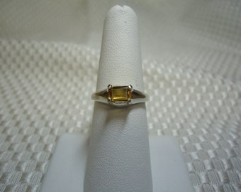 Emerald Cut Citrine East-West Ring in Sterling Silver