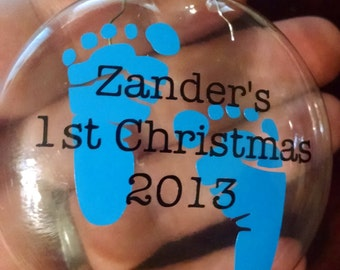 DIY Baby's 1st Christmas Ornament- Personalized with Name- Vinyl Decal