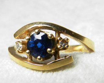 Sapphire Ring 14K Gold Ring Sapphire Diamond Engagement Ring 14K Gold Ring Unique Engagement September Birthstone Gift