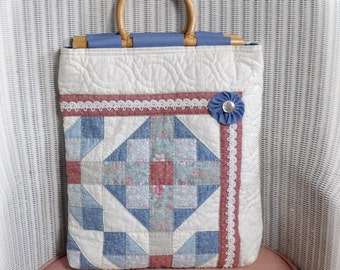 JOY! Tote, Vintage Quilt made with Joy, now repurposed with Joy into a Tote to hold your Joys! Cottage Chic, OOAK, Upcycled!