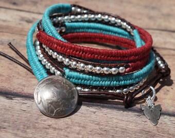 Boho Stack Leather Wrap Bracelet, 5X wrap, Bohemian, Herringbone Stitch, Turquoise and Silver