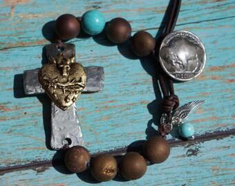 Knotted Cross Bracelet, Sacred Heart, Sideways Cross, Gold Druzy