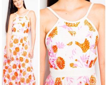 S.U.P.E.R S.A.L.E was 375 now 175 summery vintage 60s/70s LILLY PULITZER neon flower floral print halter maxi sun dress gown